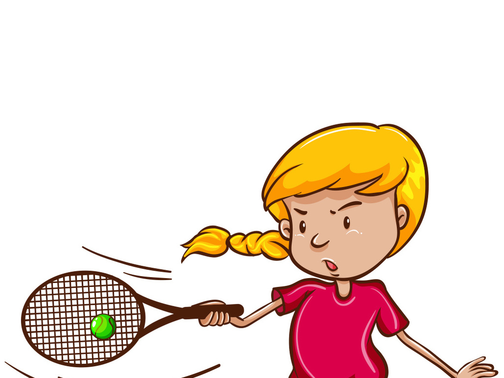 免扣元素 人物形象 儿童 > 卡通运动女孩户外打网球  素材图片参数图片
