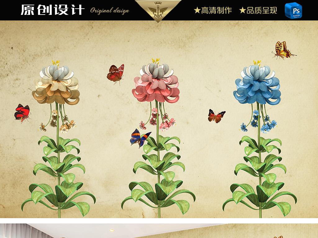 蝴蝶飞舞手绘花卉现代简约背景墙