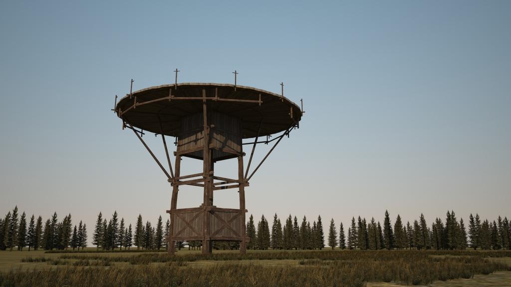 原创木头制作的了望塔建筑3d模型