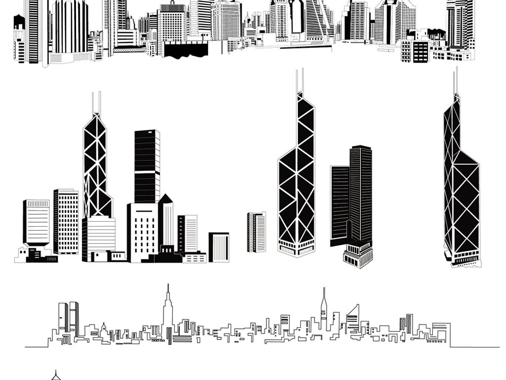 矢量线条城市剪影素材线绘手绘城市都市素材(图片编号