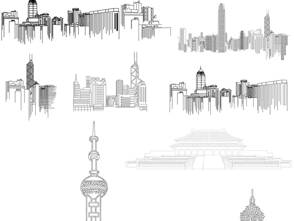 矢量线条城市剪影素材线绘手绘城市都市素材