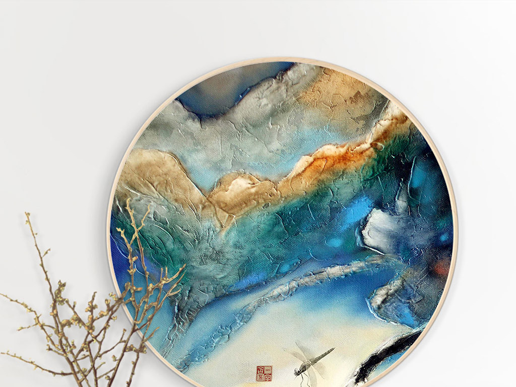 新中式抽象油画荷花翠鸟装饰画圆形无框画图片