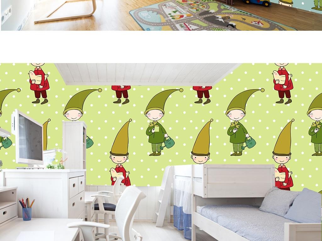 手绘北欧童话快乐男孩儿童房卧室背景墙壁纸
