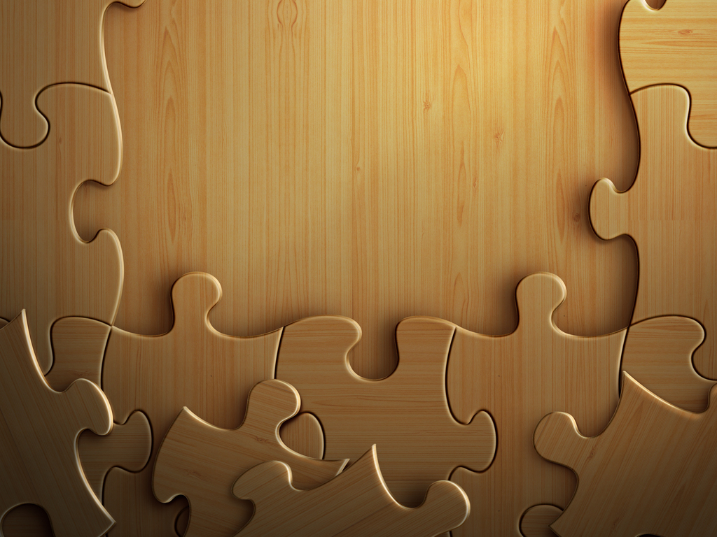 立体木质拼图psd素材