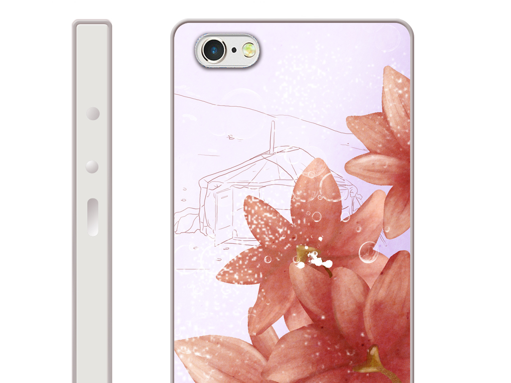 浪漫粉色花卉手机壳图案设计-33-1