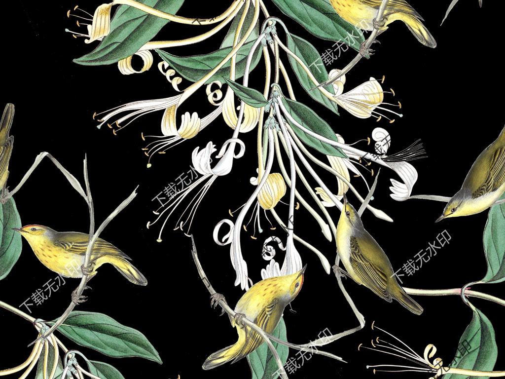 手绘金银花喜鹊图案数码印花服装花型设计