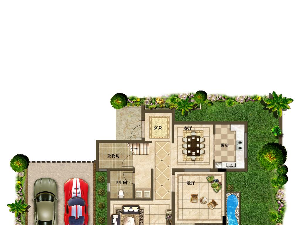 别墅户型图渲染005 1