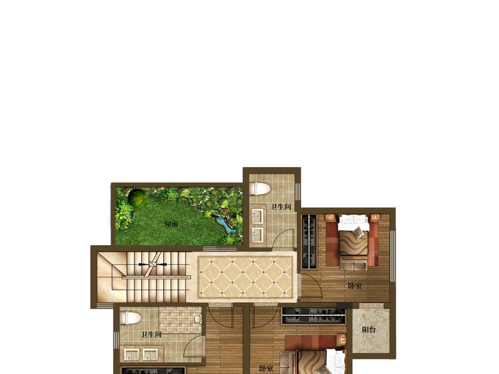 别墅户型图渲染005 2