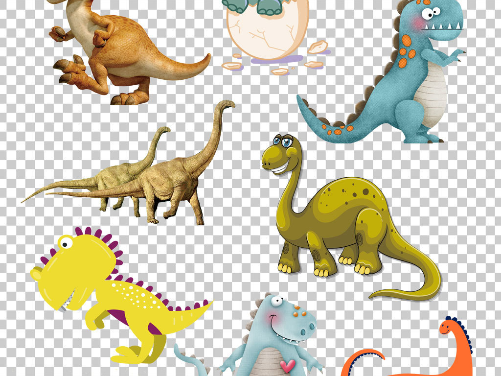 卡通手绘恐龙png海报素材