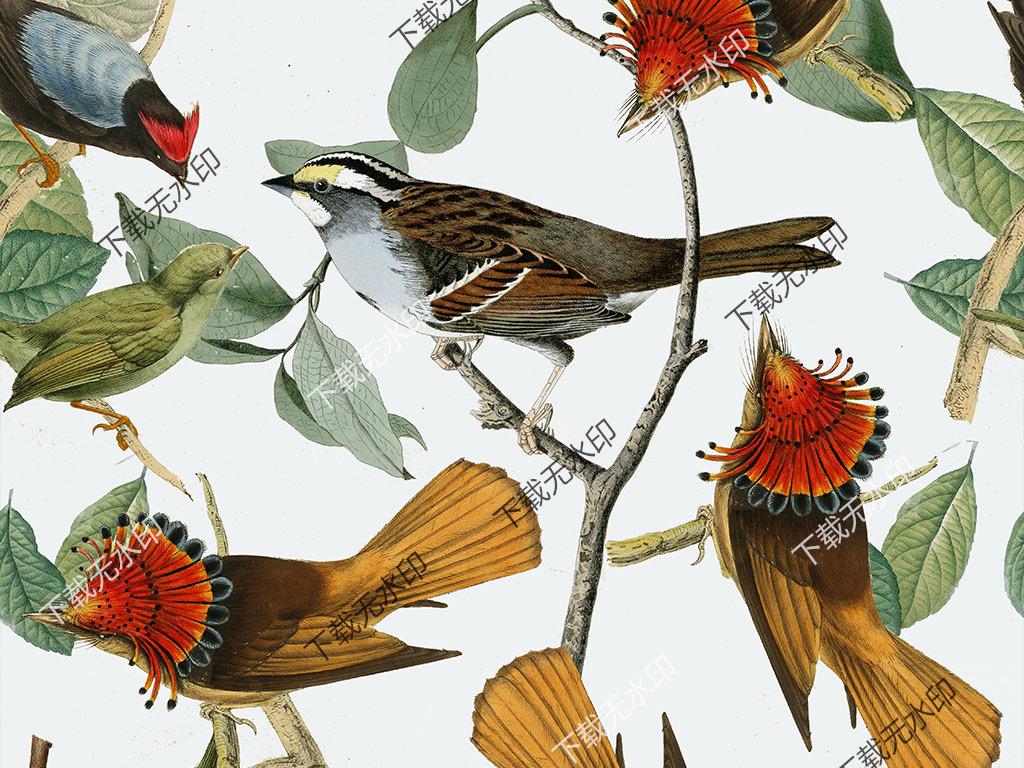 手绘天堂鸟绿叶拼图数码印花服装花型设计