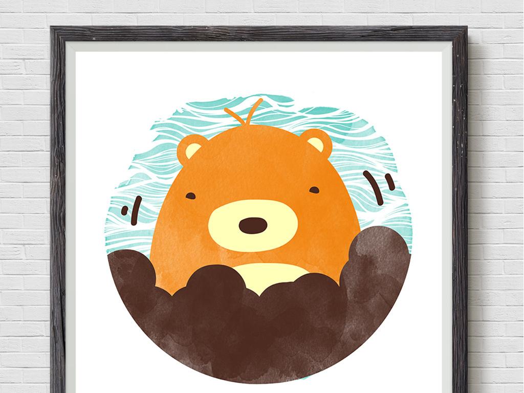 背景墙|装饰画 无框画 动物图案无框画 > 北欧甜美可爱动物装饰画三联