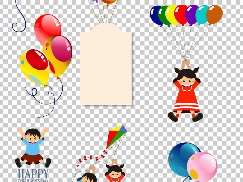 卡通手绘节日气球彩带png海报素材
