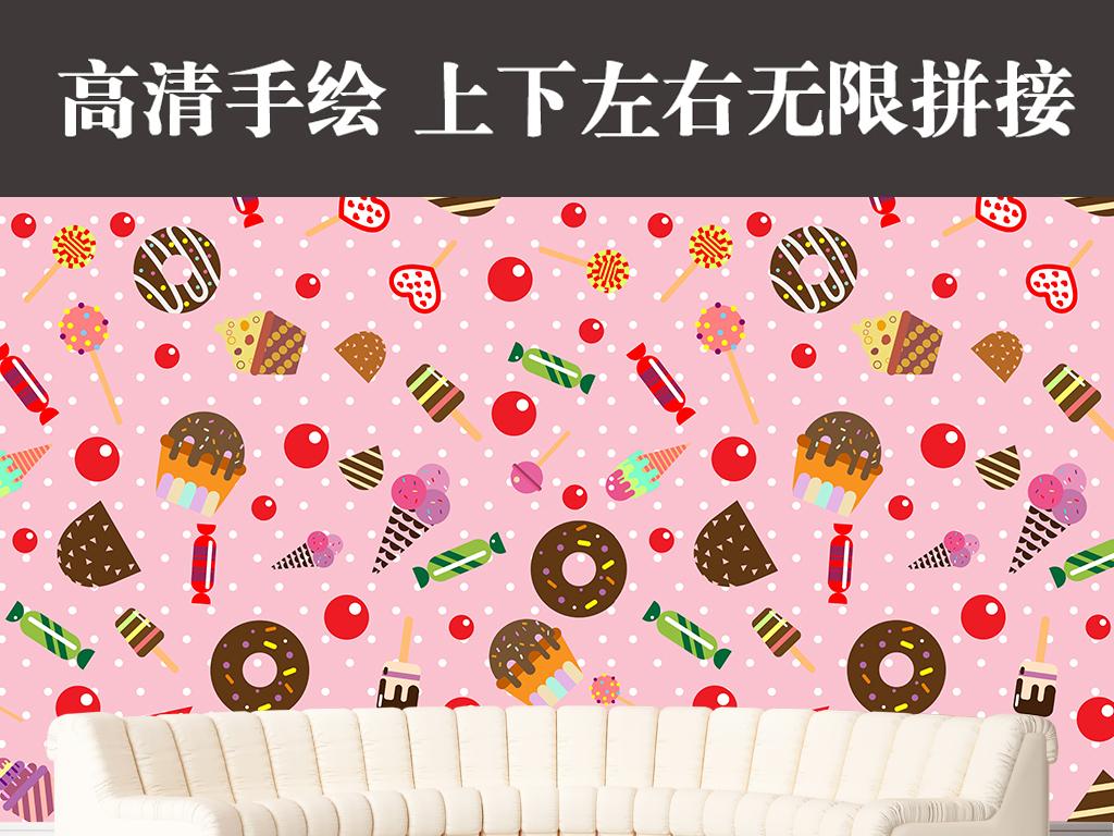 高清可爱手绘甜甜圈糖果装饰画背景墙壁纸