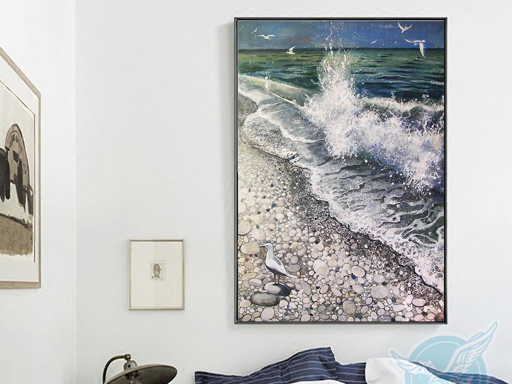 北欧现代手绘大海海鸥浪击沙滩欧无框装饰画