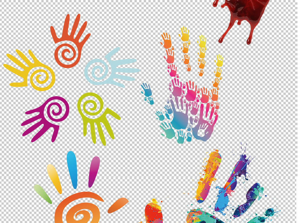 设计元素 其他 效果素材 > 彩色手绘手印指纹掌印png图片  版权图片
