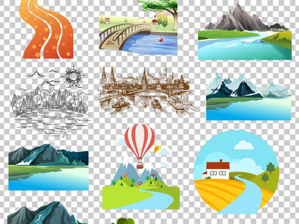 卡通手绘河流湖泊png海报素材