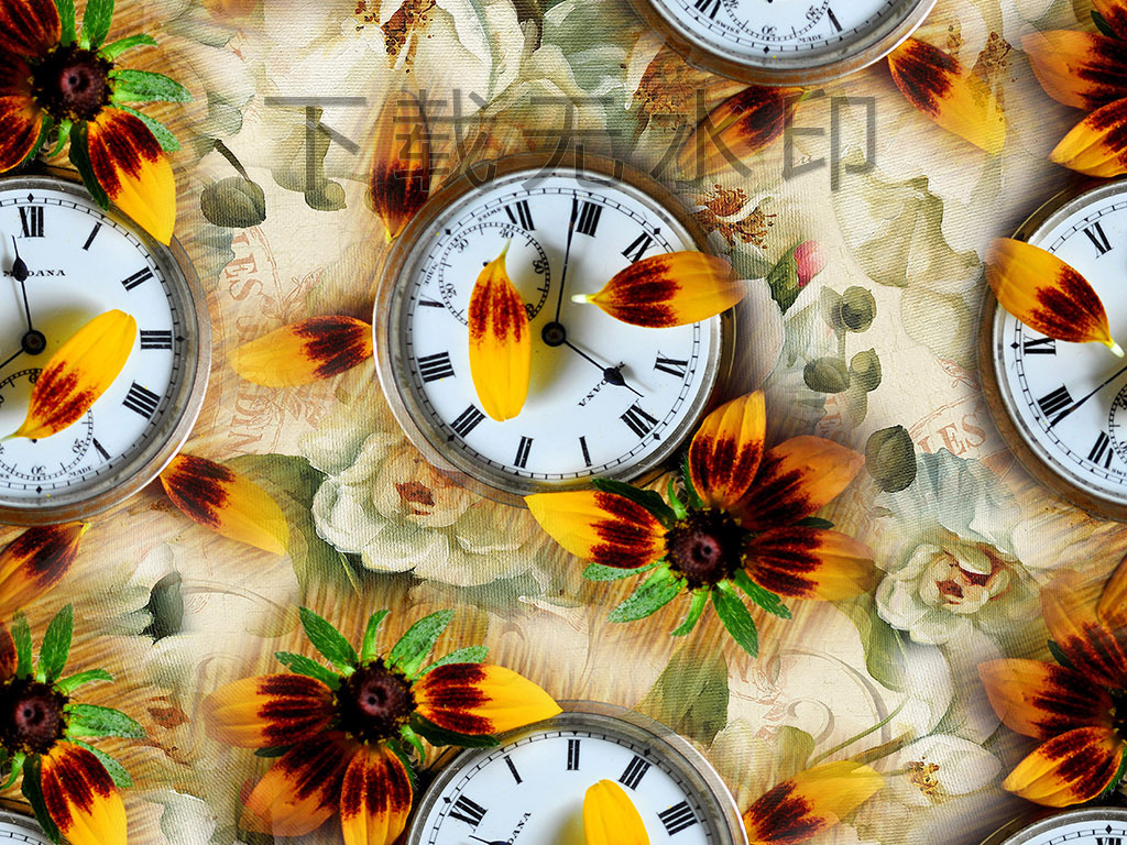 时尚手绘菊花怀表拼图数码印花服装花型设计