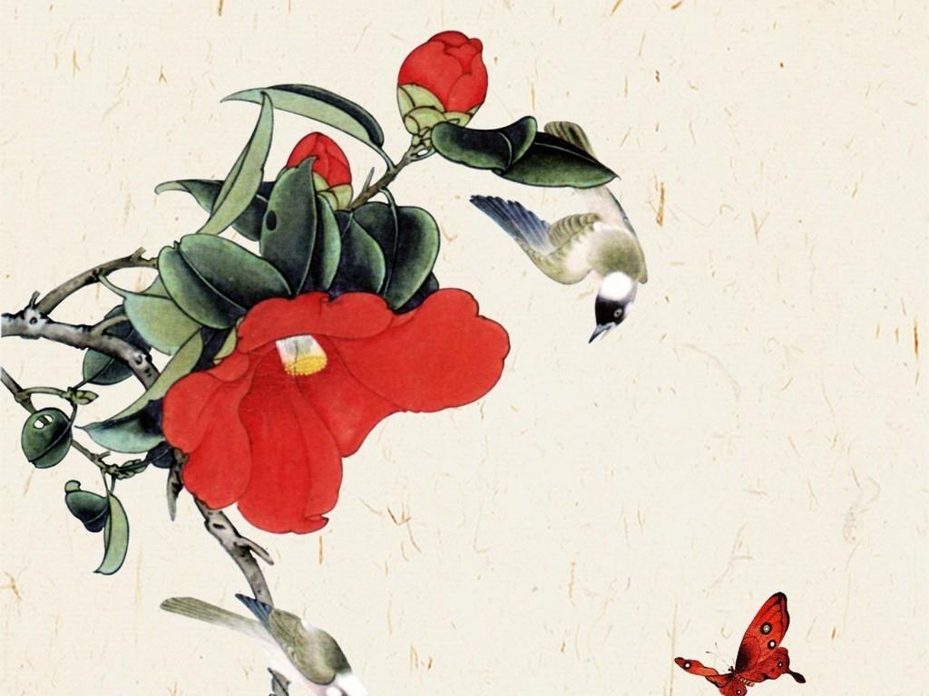 新中式装饰画春意浓花鸟国画禅意高清分层图片