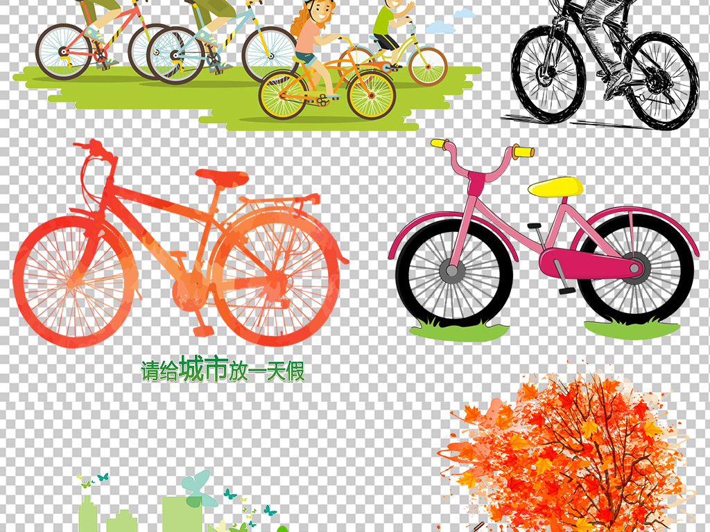 卡通手绘素描自行车单车图片png素材