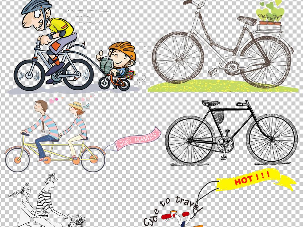 手绘自行车卡通图片素材骑自行车卡通情侣儿童骑自行车骑自行车卡通图
