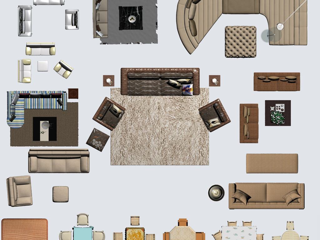室内装饰设计色彩家具平面构件素材