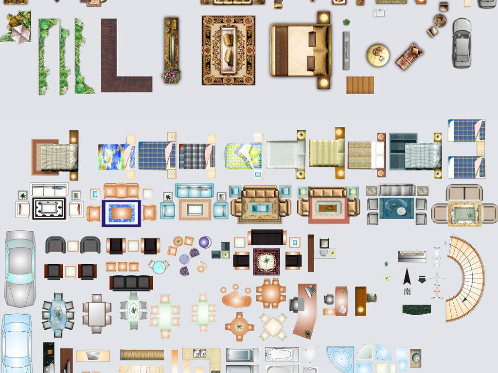 室内户型装饰色彩家具平面构件