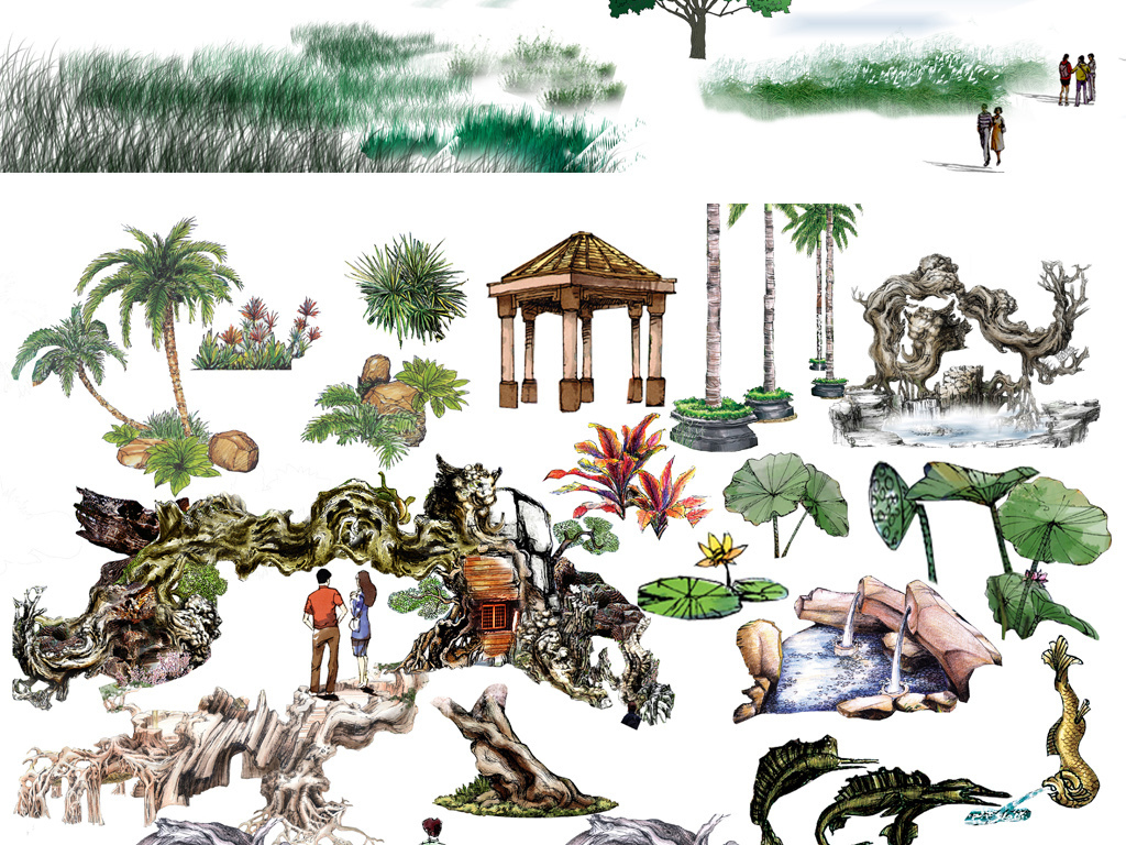 园林色彩灌木立面素材园林景观立面图