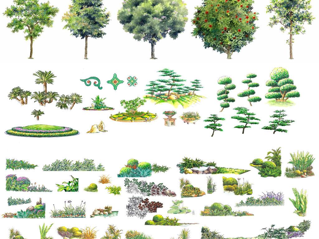 psd)彩色平植物平面素材楼盘绿化素材地产效果图素材