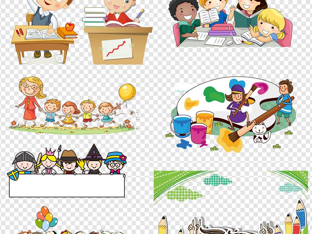 卡通儿童小孩学生幼儿暑期班招生图片素材