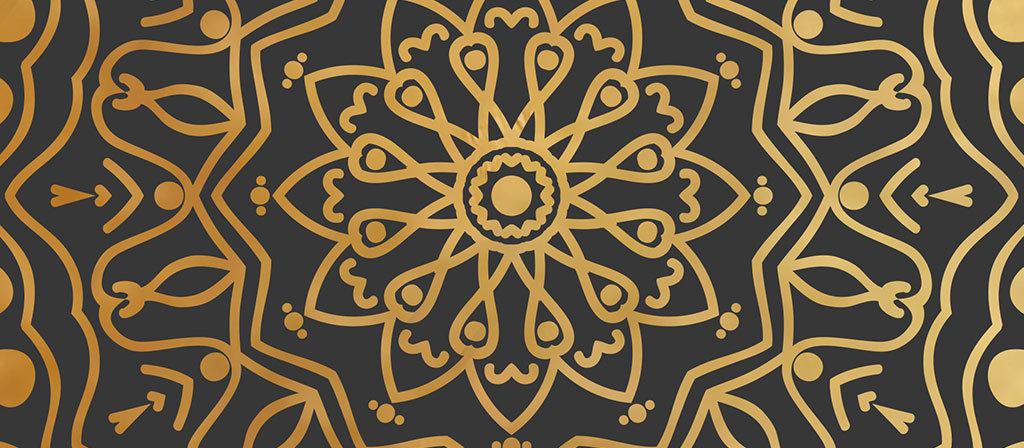新中式抽象几何花纹圆形艺术装饰画图片