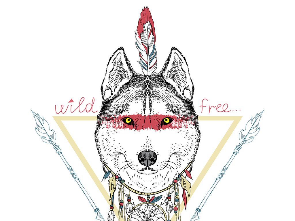 狼手绘黑白动物简笔插画