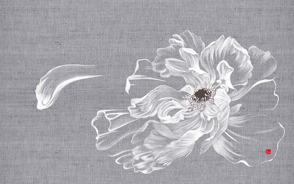 手绘中式牡丹梦幻花电视背景墙