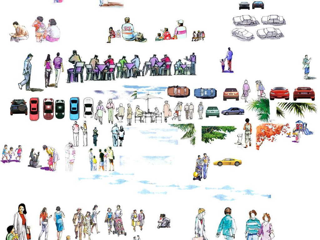 水彩人物手绘人物配图分层人物图库psd配景人物建筑