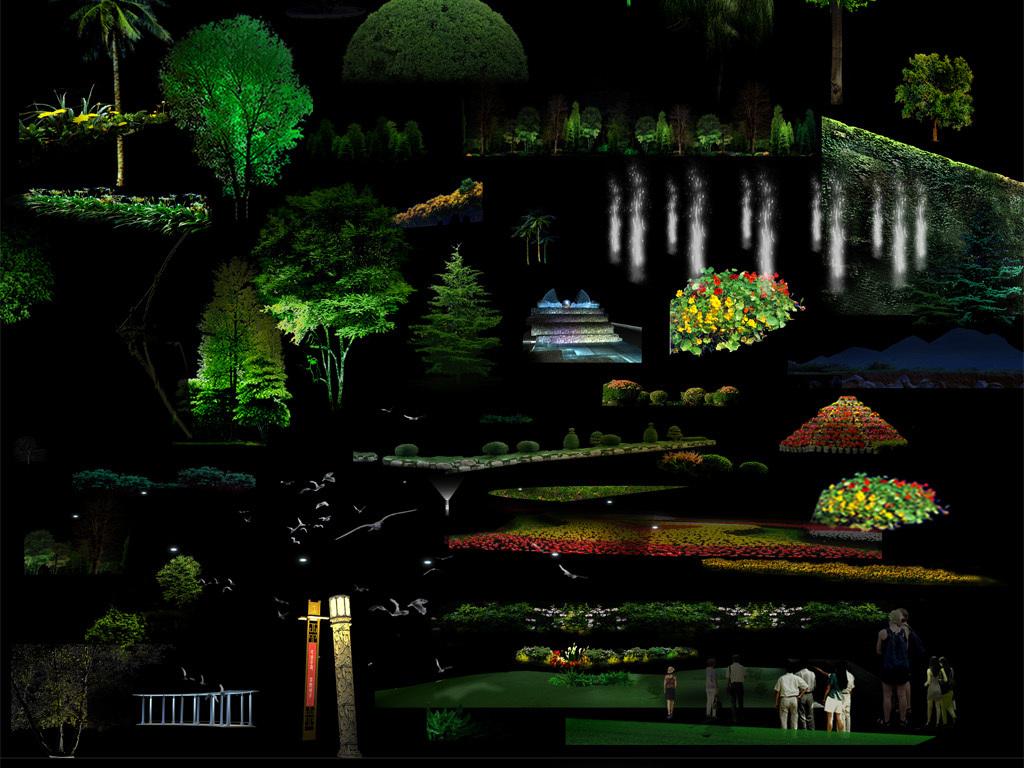 园林别墅夜景树亮化灯光植物图片