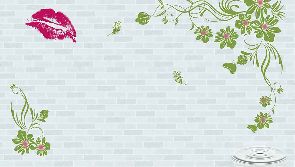叶子墙砖嘴唇抽象手绘树叶花藤电视背景墙