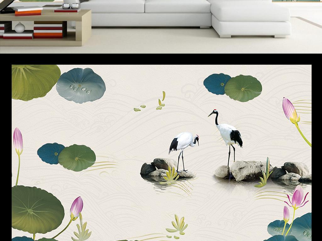 水彩荷花仙鹤中式背景墙
