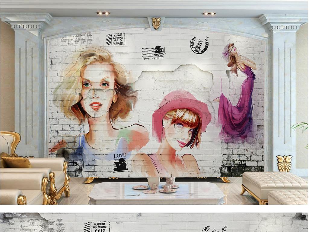 手绘美女服装店背景墙