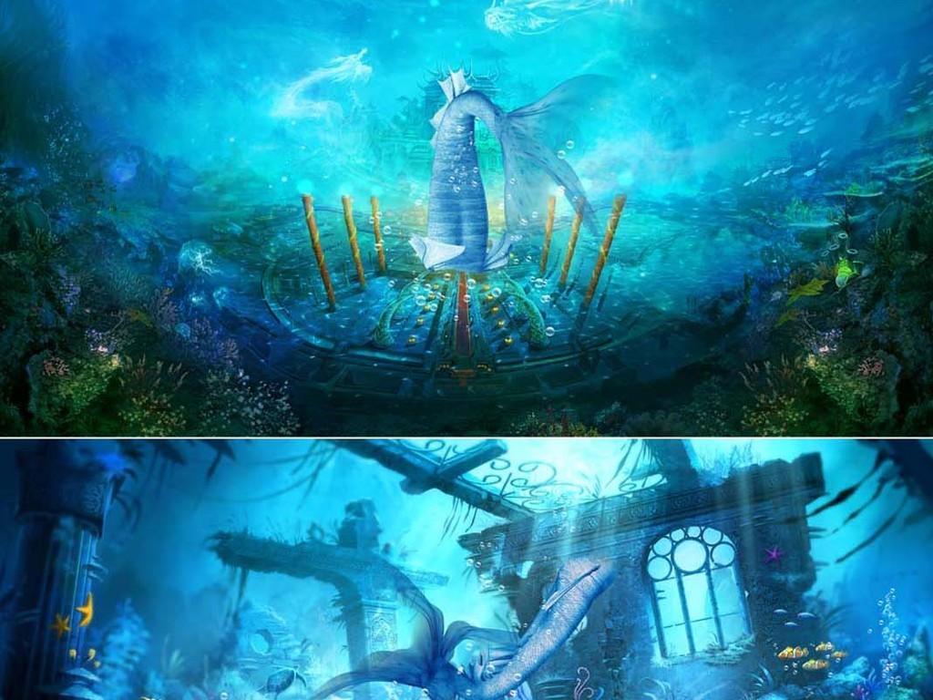 唯美卡通童话世界人鱼公主美人鱼图片背景