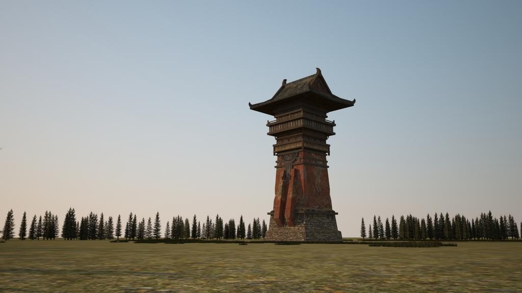中国古建塔楼骑楼哨塔建筑3d模型的渲染材质灯光