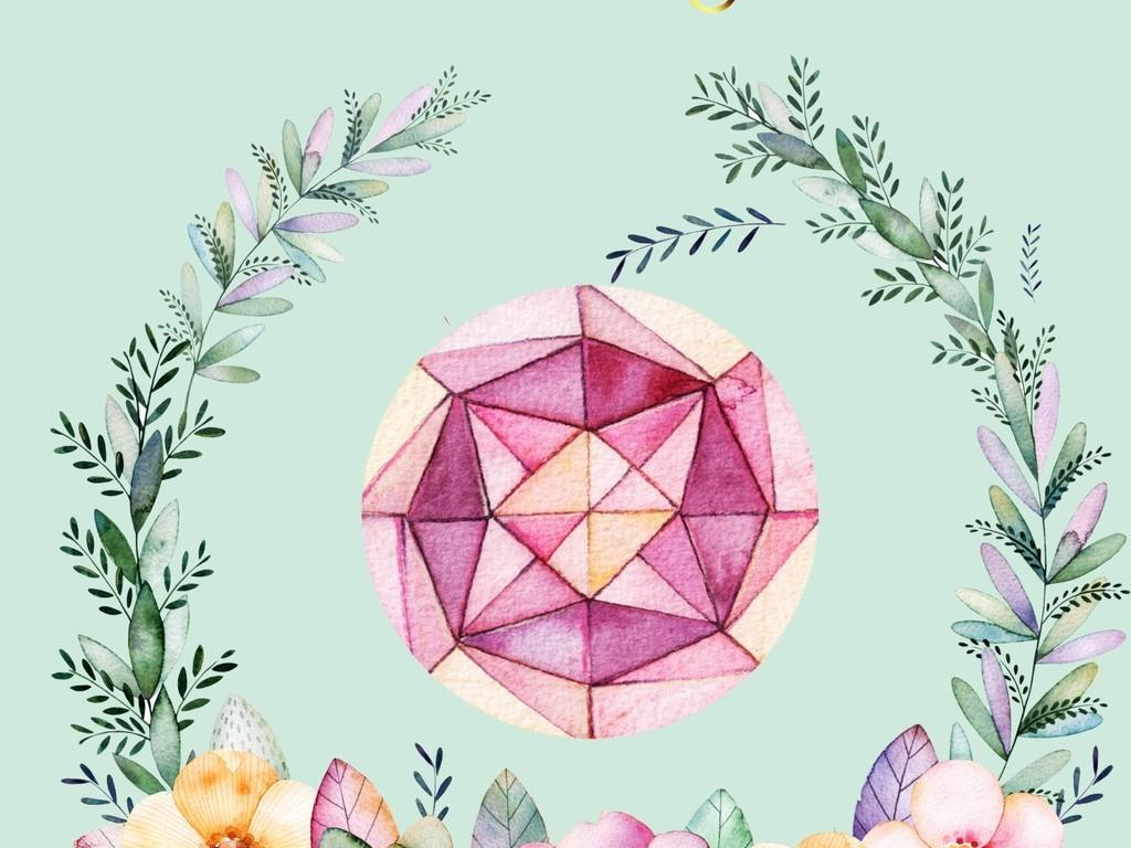 北欧清新系列少女可爱手绘粉色装饰画高清