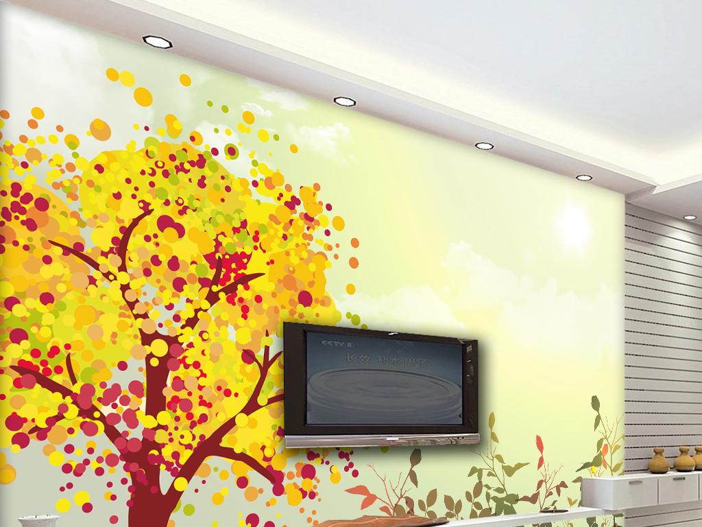 现代时尚秋天彩色手绘树电视沙发背景墙墙纸
