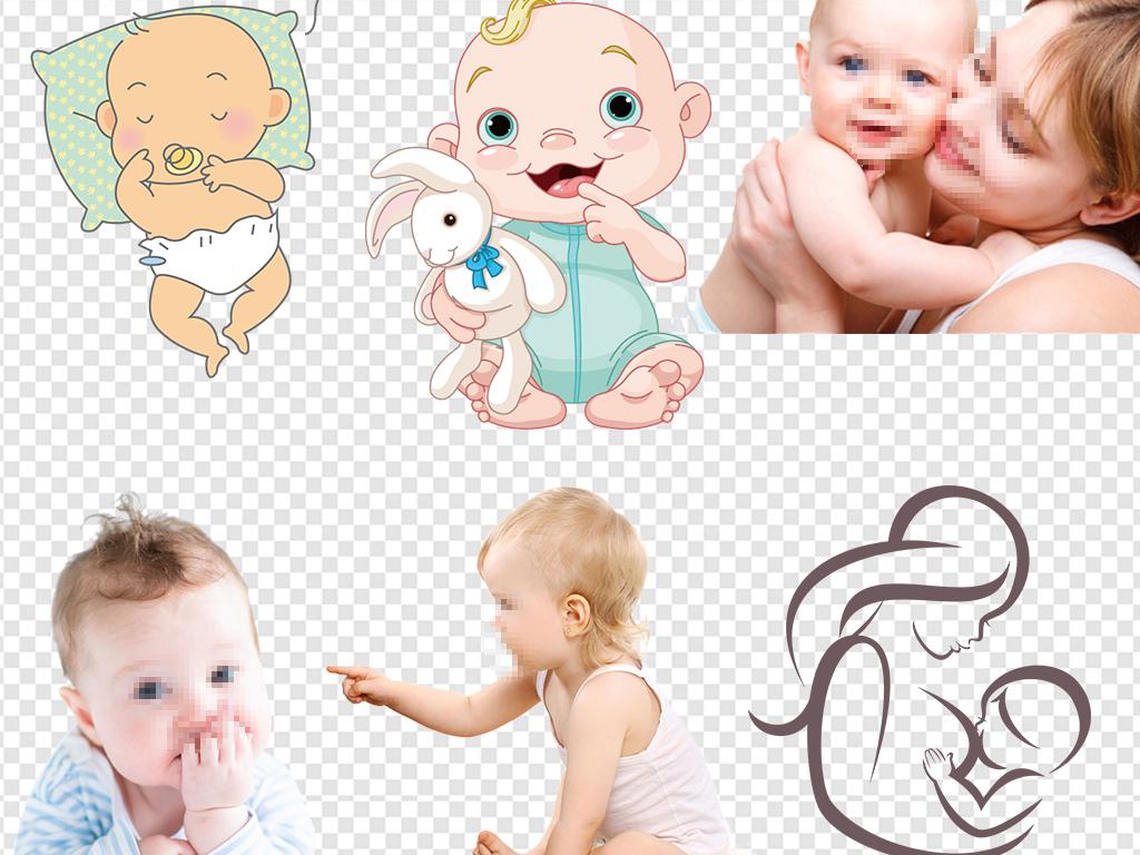 婴儿卡通宝宝婴儿广告婴儿母婴乖孩子妈妈亲宝宝妈妈躺着宝宝手绘