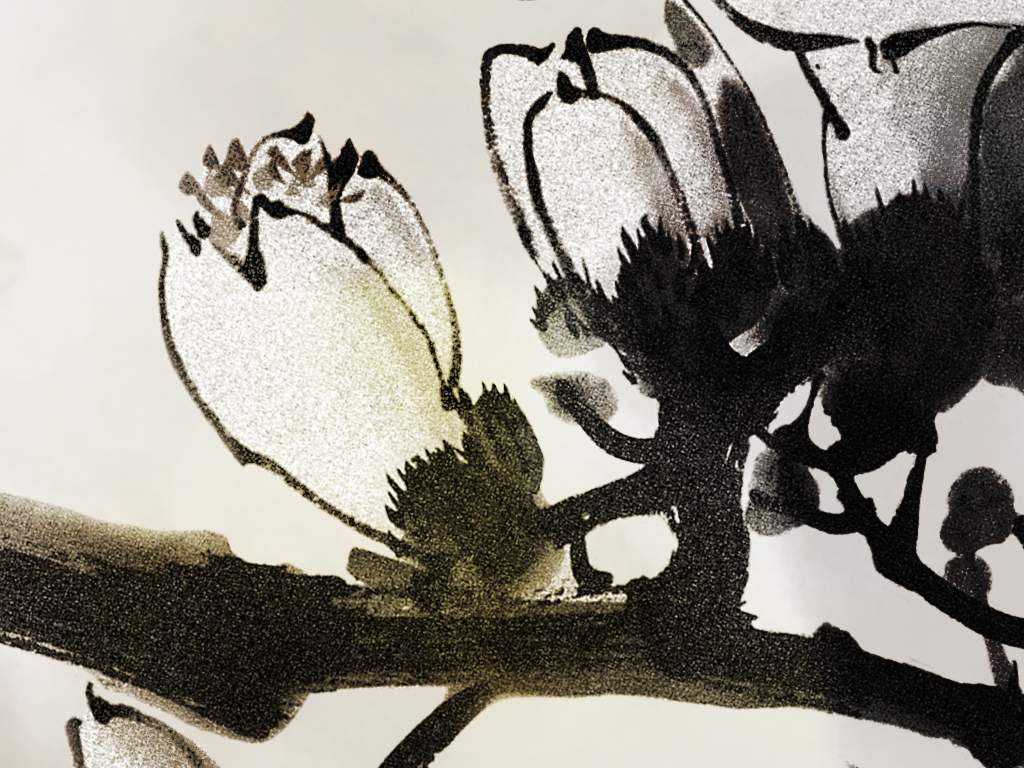 新中式手绘花鸟水墨山水沙发电视背景墙