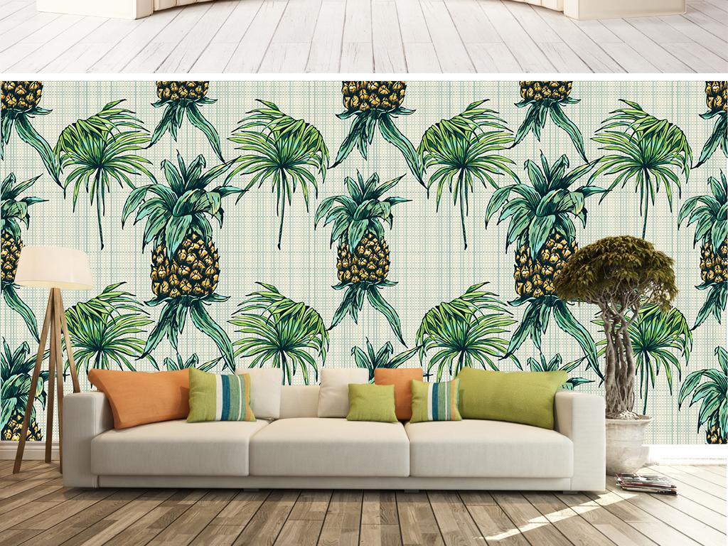 手绘高清东南亚风格菠萝热带植物无缝背景墙