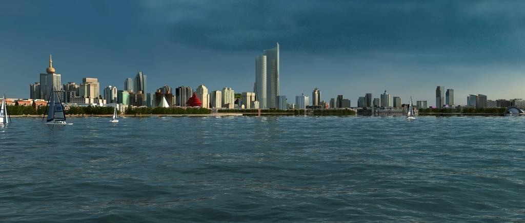 3d青岛市南区海边栈桥帆船板五四广场模型
