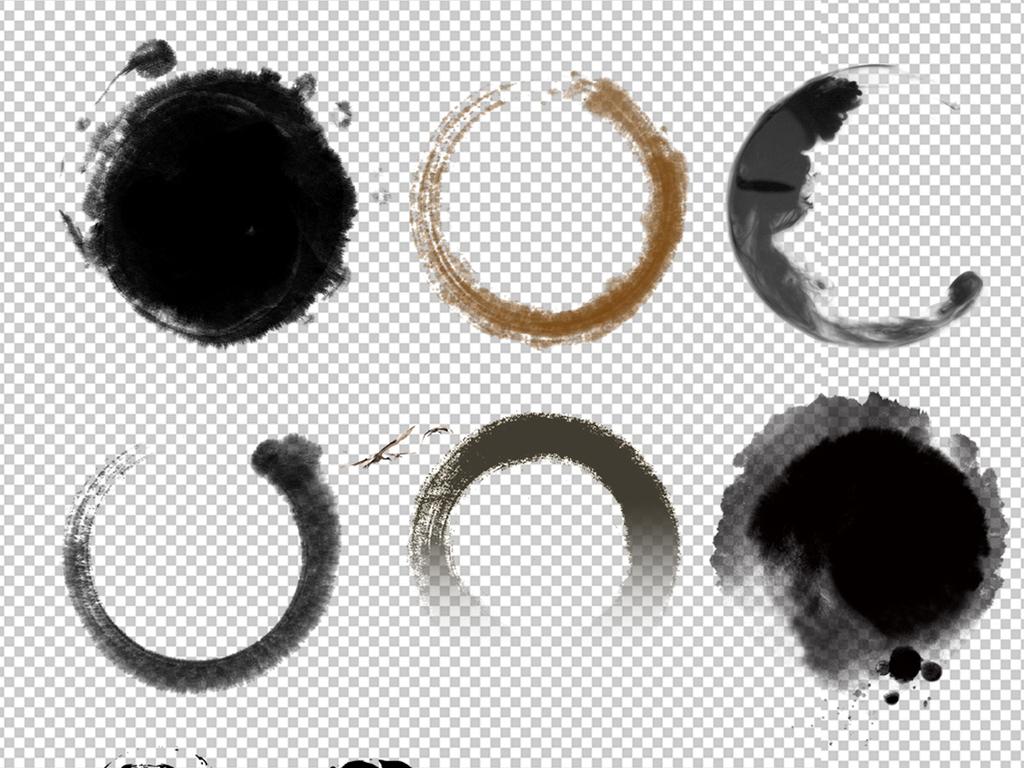 元素边框png圆形素材墨圈ps水墨画笔刷水墨画笔刷墨滴墨染墨圈笔刷图片