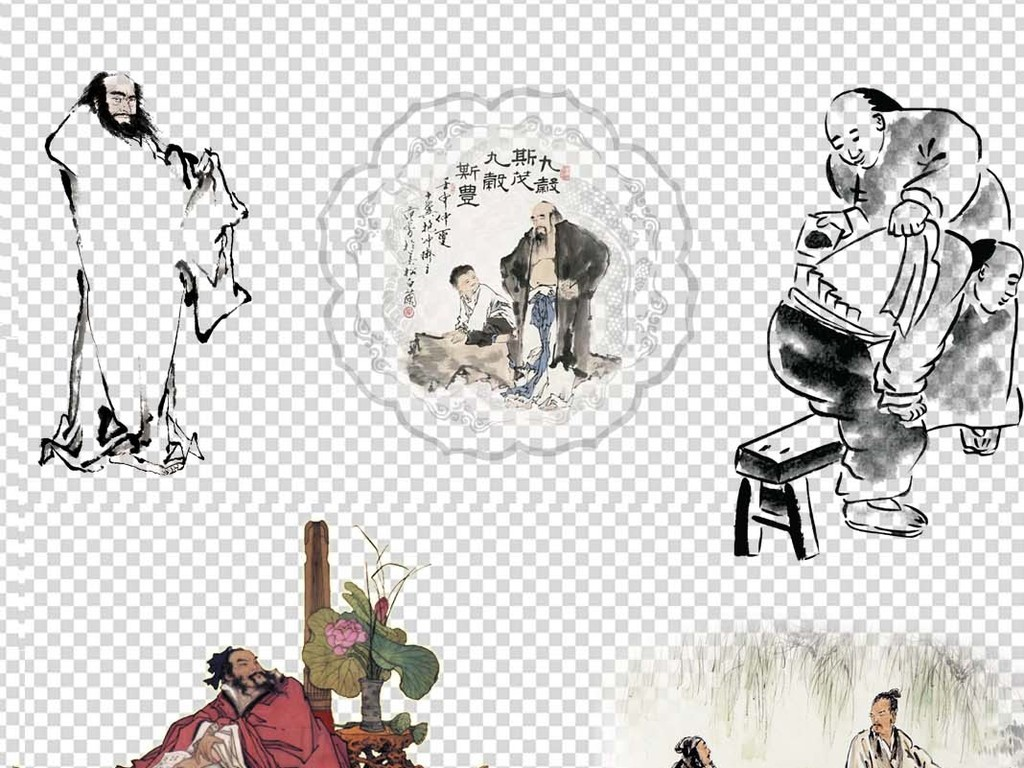 中国古代名医诗人作词人物海报素材