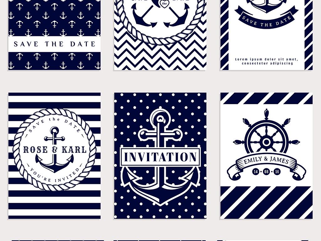 海军风格卡片素材地中海风格卡片矢量素材