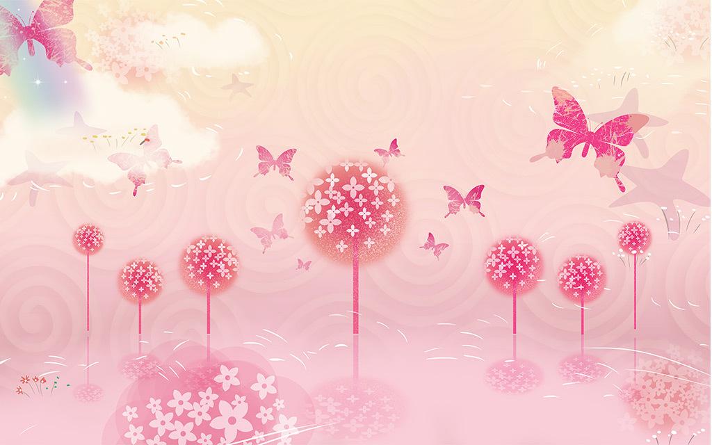 粉色蒲公英蝴蝶手绘3d电视背景墙