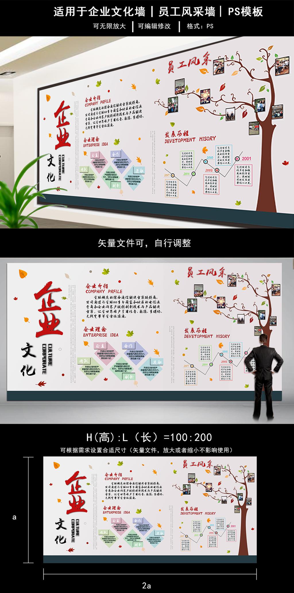 原创设计办公室企业文化墙员工风采员工照片墙宣传墙